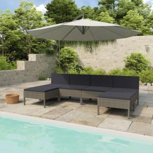 Set mobilier de grădină cu perne, 6 piese, gri, poliratan