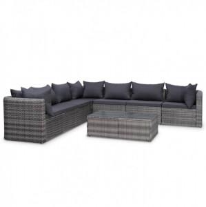 Set mobilier de grădină cu perne, 8 piese, gri, poliratan