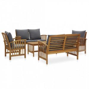Set mobilier grădină cu perne, 5 piese, lemn masiv de acacia