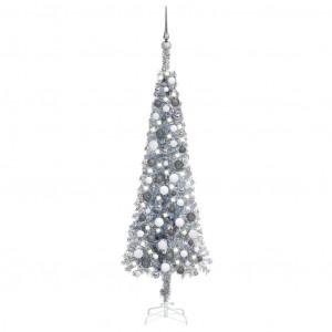 Set pom Crăciun subțire cu LED-uri și globuri, argintiu 150 cm
