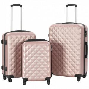 Set valiză carcasă rigidă, 3 buc., roz auriu, ABS