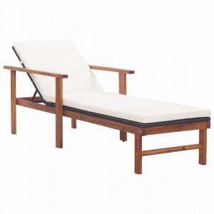 Șezlong cu pernă, negru, poliratan și lemn masiv de acacia
