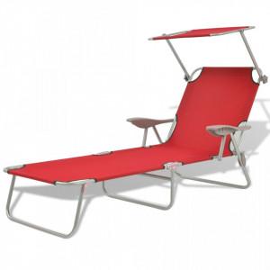 Șezlong de plajă cu baldachin, roșu, oțel