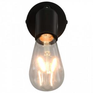 Spoturi luminoase cu becuri filament, 2 buc., negru, 2 W, E27