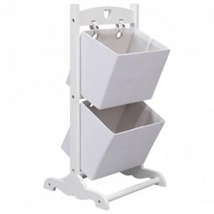 Suport coșuri depozitare, 2 nivele, alb, 35x35x72 cm, lemn
