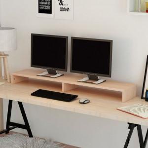 Suport monitor din placaj, 118 x 23,5 x 9 cm, bej