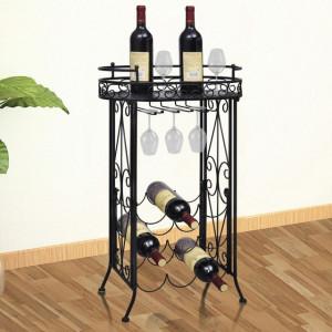 Suport sticle de vin pentru 9 sticle, cu suport pahar, metal