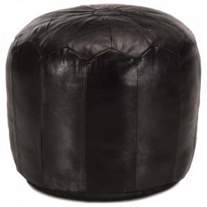Taburet, negru, 40x35 cm, piele naturală de capră