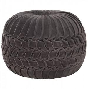 Taburet puf design romburi antracit, 40x30 cm, bumbac & catifea