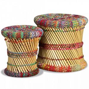 Taburete cu detalii Chindi, 2 buc., multicolor, bambus