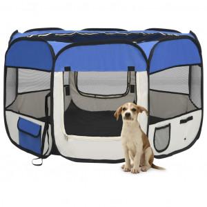 Țarc joacă pliabil câini cu sac de transport albastru 110x110x58 cm