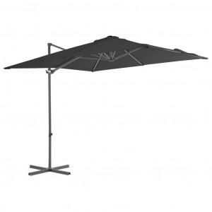 Umbrelă suspendată cu stâlp din oțel, antracit, 250x250 cm