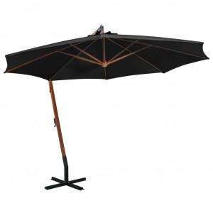 Umbrelă suspendată cu stâlp, negru, 3,5x2,9 m, lemn masiv brad