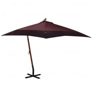 Umbrelă suspendată cu stâlp, roșu bordo, 3x3 m, lemn masiv brad