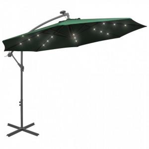 Umbrelă suspendată, iluminare LED, 300 cm, verde, stâlp metalic