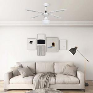 Ventilator de tavan cu iluminare, alb, 106 cm
