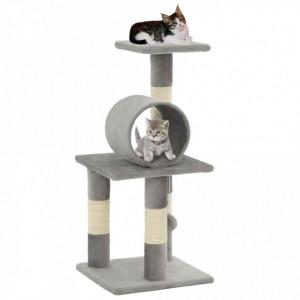 Ansamblu pentru pisici, stâlpi din funie de sisal, 65 cm, gri