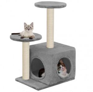 Ansamblu pisici cu stâlpi din funie de sisal, 60 cm gri