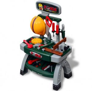 Banc de lucru pentru copii, cu unelte, Verde + Gri
