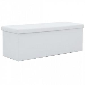 Bancă depozitare pliabilă, imitație piele, 110x38x38cm, alb