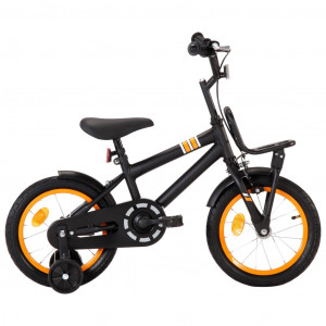 Bicicletă copii cu suport frontal, negru și portocaliu, 14 inci