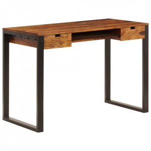 Birou, 110 x 55 x 78 cm, lemn masiv de sheesham și oțel
