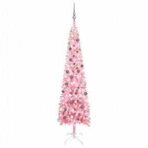 Brad de Crăciun artificial subțire LED-uri&globuri roz 240 cm
