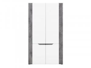 Brando b7 dulap 2d white/beton/white high gloss