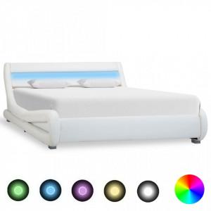 Cadru de pat cu LED, alb, 120 x 200 cm, piele ecologică
