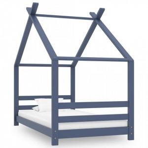 Cadru de pat de copii, gri, 80 x 160 cm, lemn masiv de pin