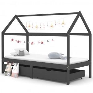 Cadru pat copii cu sertare gri închis 90x200 cm lemn masiv pin