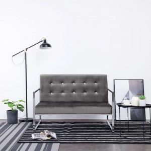Canapea cu 2 locuri cu brațe, gri închis, crom și catifea