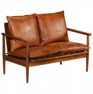 Canapea cu 2 locuri, piele naturală cu lemn de acacia, maro
