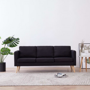 Canapea cu 3 locuri, negru, material textil