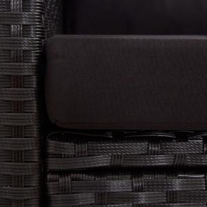 Canapea de grădină cu 2 locuri cu perne, negru, 124 cm, poliratan