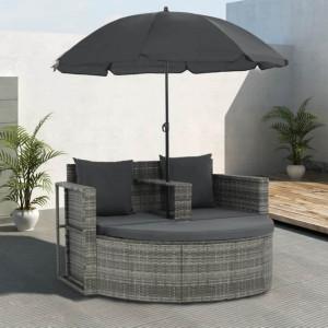 Canapea de grădină cu 2 locuri cu perne & umbrelă gri poliratan