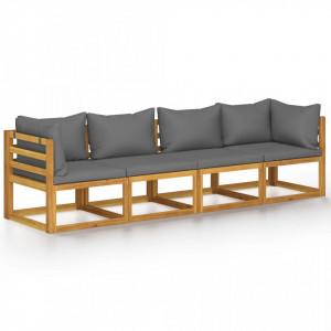 Canapea de grădină cu 4 locuri, cu perne, lemn masiv de acacia