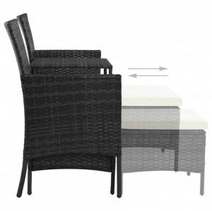 Canapea grădină cu 2 locuri cu masă & taburete, negru poliratan