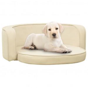 Canapea pliabilă de câini crem 73x67x26 cm pernă pluș lavabilă