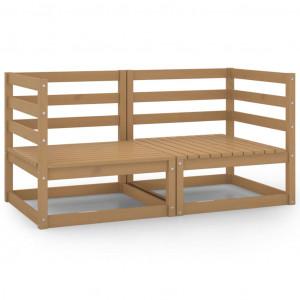 Canapele de colț de grădină, 2 buc., maro miere, lemn masiv pin