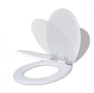 Capac WC cu închidere silențioasă alb MDF design simplu