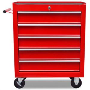 Cărucior depozitare unelte cu 5 sertare, pentru atelier, roșu