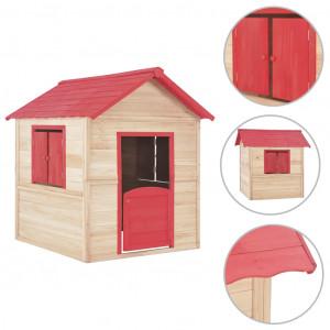 Căsuță de joacă pentru copii, roșu, lemn de brad