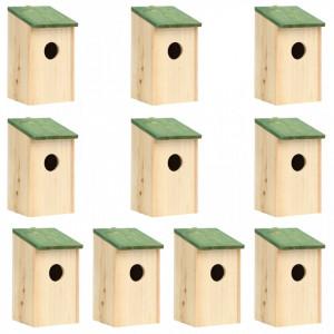 Căsuțe de păsări ,10 buc., 12 x 12 x 22 cm, lemn masiv de brad