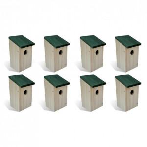 Căsuțe de păsări, 8 buc., 12 x 12 x 22 cm, lemn