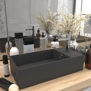 Chiuvetă de baie cu preaplin, gri închis, ceramică