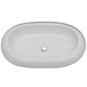 Chiuvetă de baie cu robinet mixer, ceramic, oval, alb
