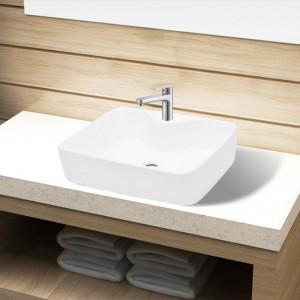 Chiuvetă de baie pătrată din ceramică cu gaură pentru robinet, alb