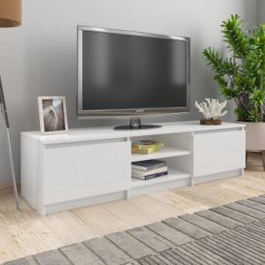 Comodă TV, alb foarte lucios, 140 x 40 x 35,5 cm, PAL