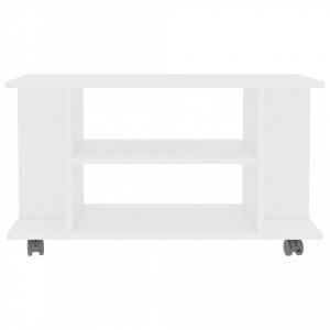 Comodă TV cu rotile, alb, 80 x 40 x 40 cm, PAL